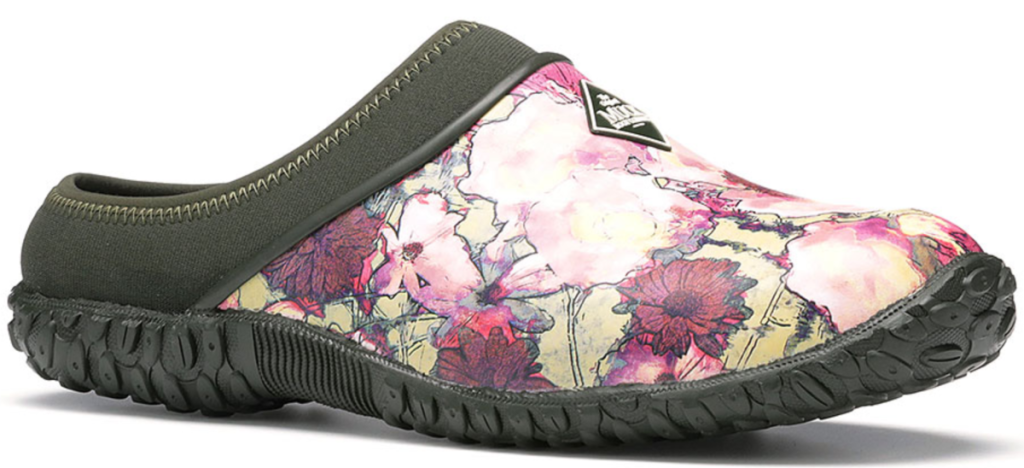 floral and black clogs
