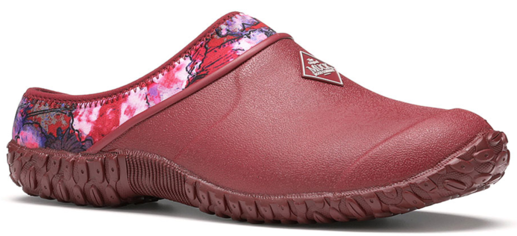 red and floral clogs