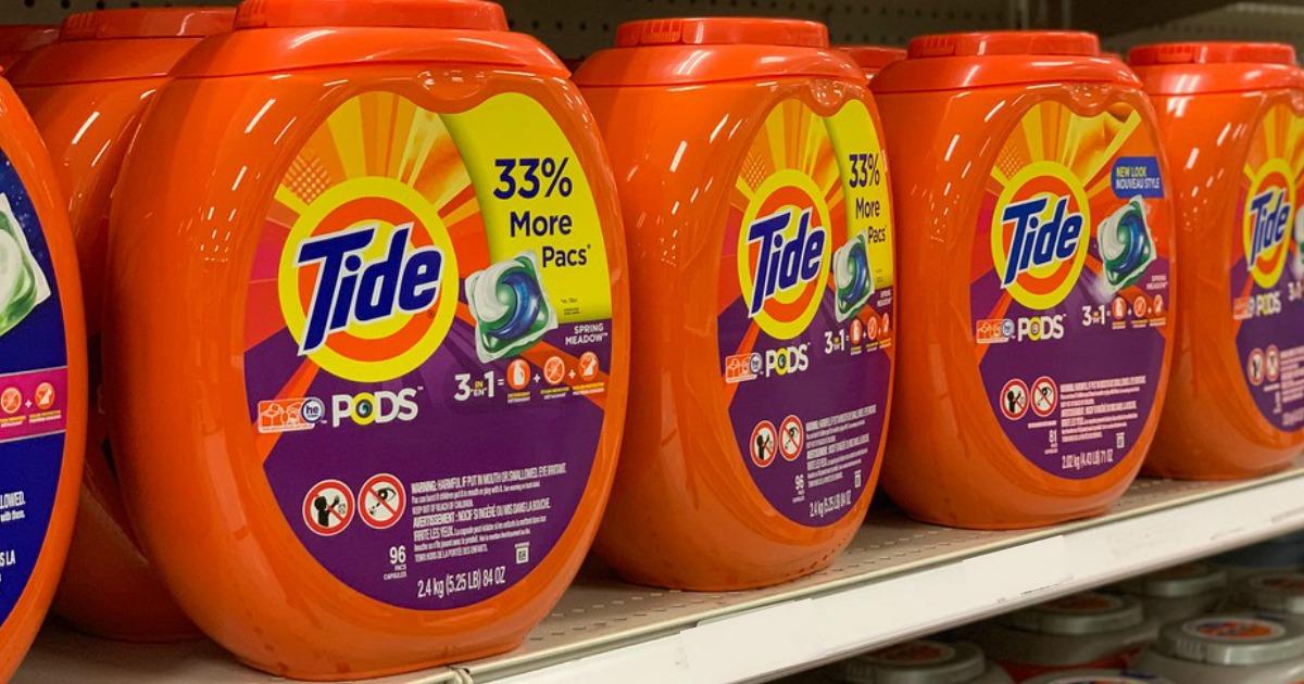 Tide PODS 96ct on a shelf