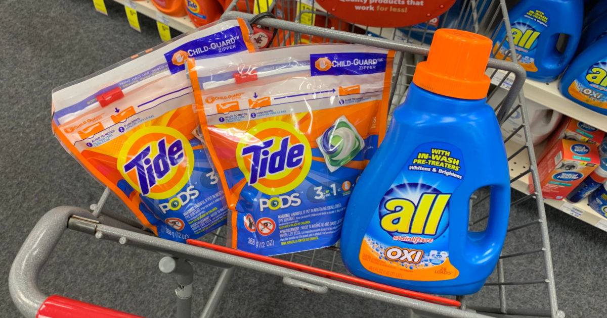 Tide and all laundry detergent in shopping cart