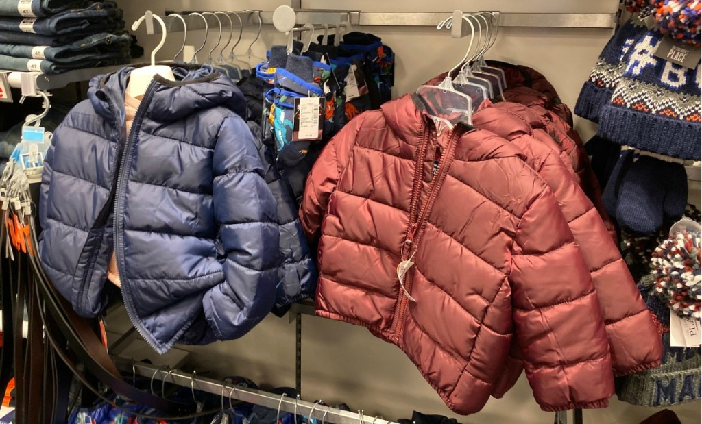 Toddler Puffer jackets in two colors on rack in store