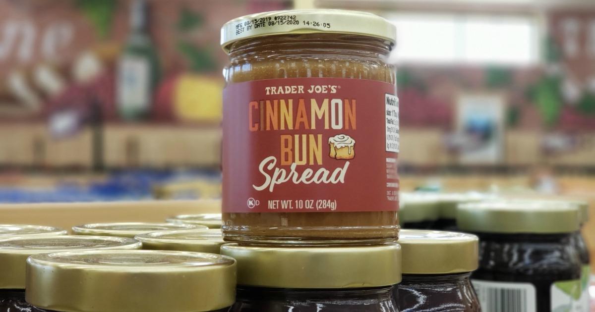 Trader Joe's Cinnamon Bun Spread on store display