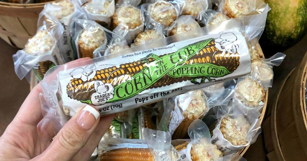 hand holding Trader Joe's Corn on the Cob popping corn