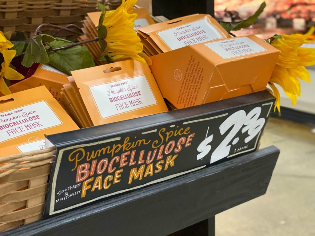 Trader Joe's in-store display of pumpkin spice face masks