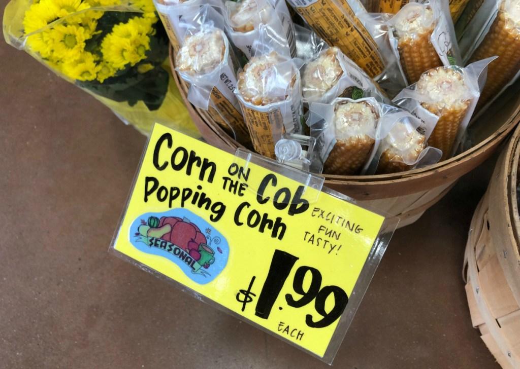 Trader Joe's corn on the cob popping corn basket