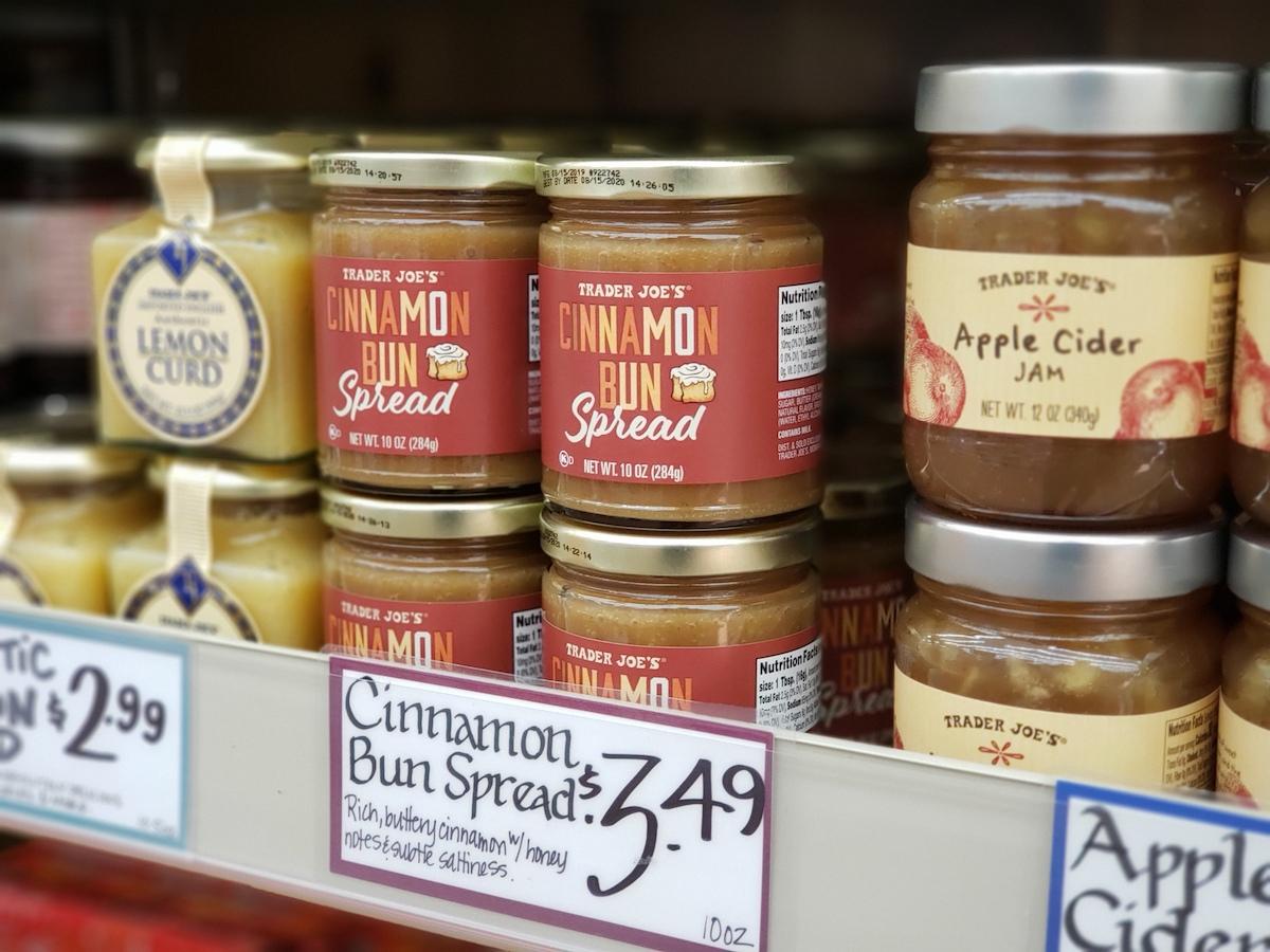 Trader Joe's Cinnamon Bun Spread with price tag