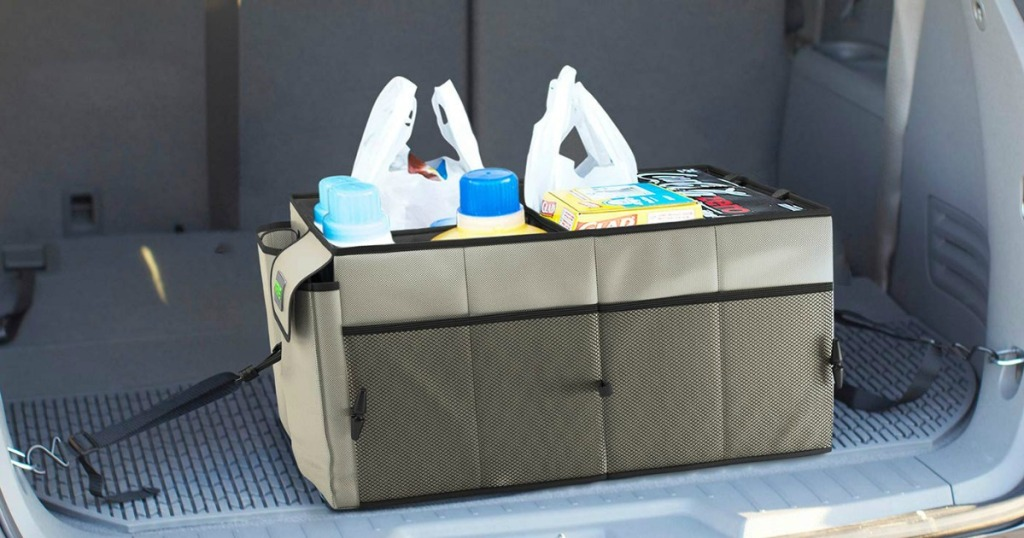 Trunk Organizer with groceries in it