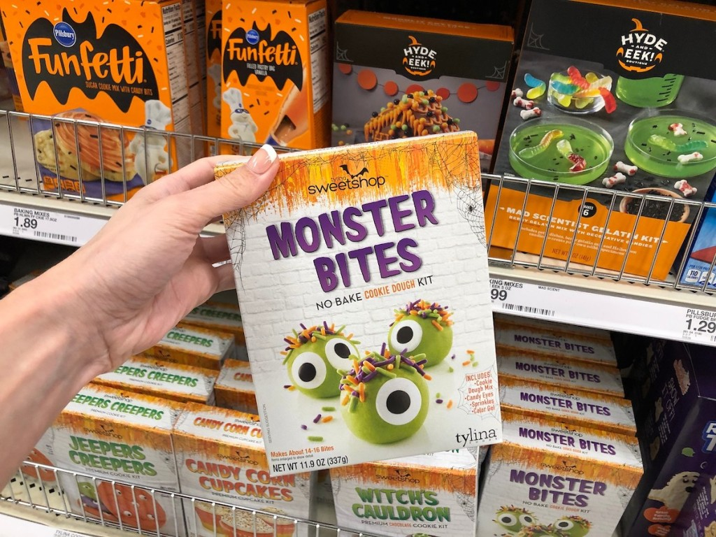 hand holding Tylina Sweetshop Monster Bites No Bake Cookie Dough Kit in store