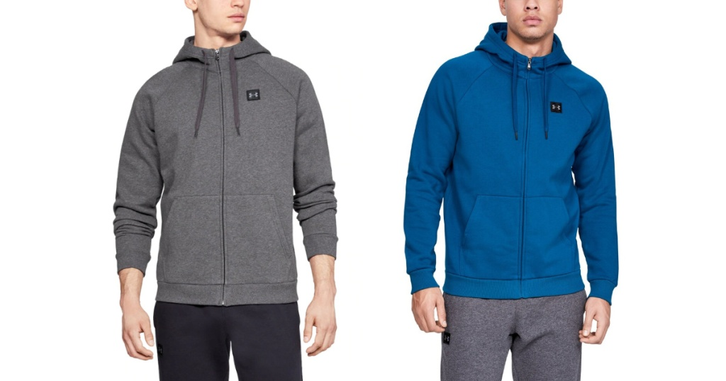 two men wearing under armour hoodies
