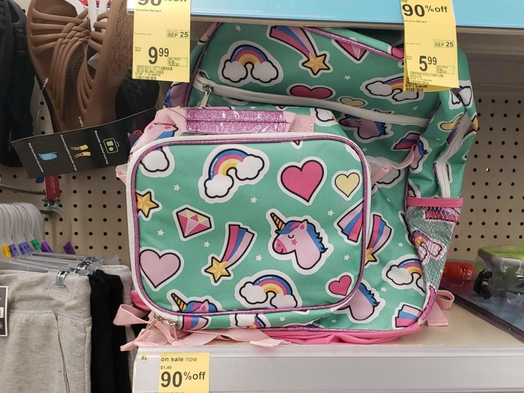 Unicorn Backpack and Lunchbox on Walgreens shelf