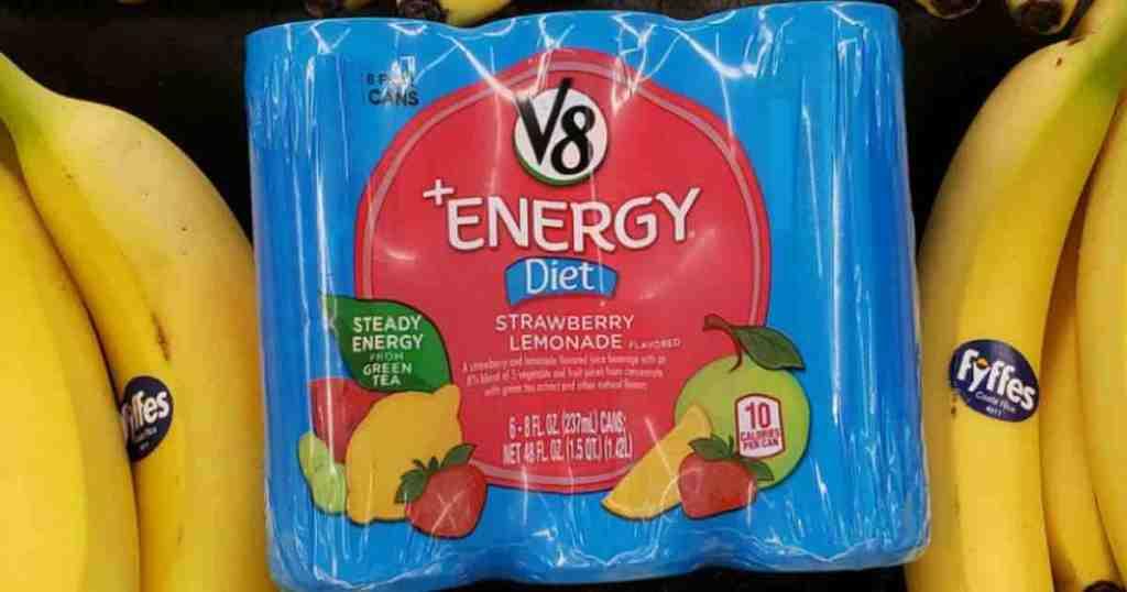 V8 Energy Diet Strawberry Lemonade with bananas