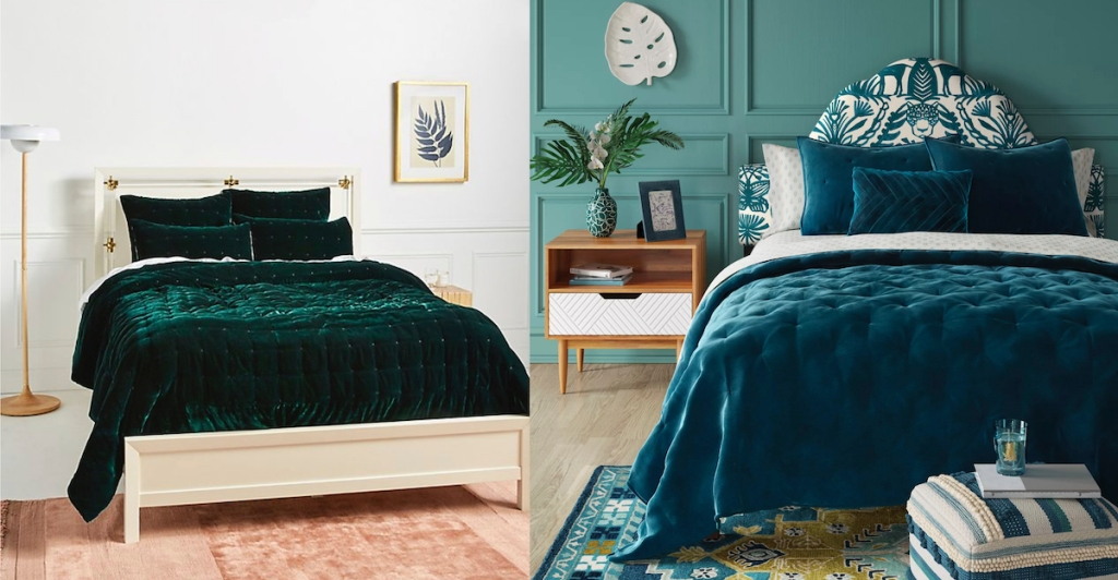 emerald and teal green velvet quilts on beds
