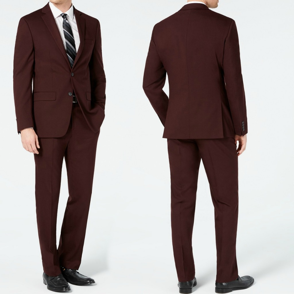 Burgundy colored Men's suits from Macy's - front and back view