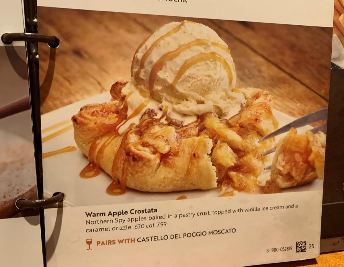 Warm Apple Crostata in Olive Garden Dessert Menu
