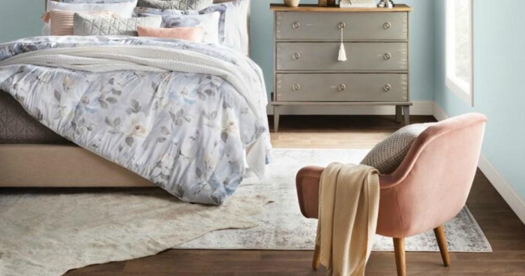 Mistana Brandt Gray Area Rug on floor of bedroom