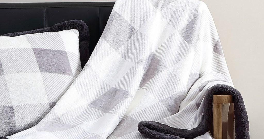 buffalo check throw blanket on chair