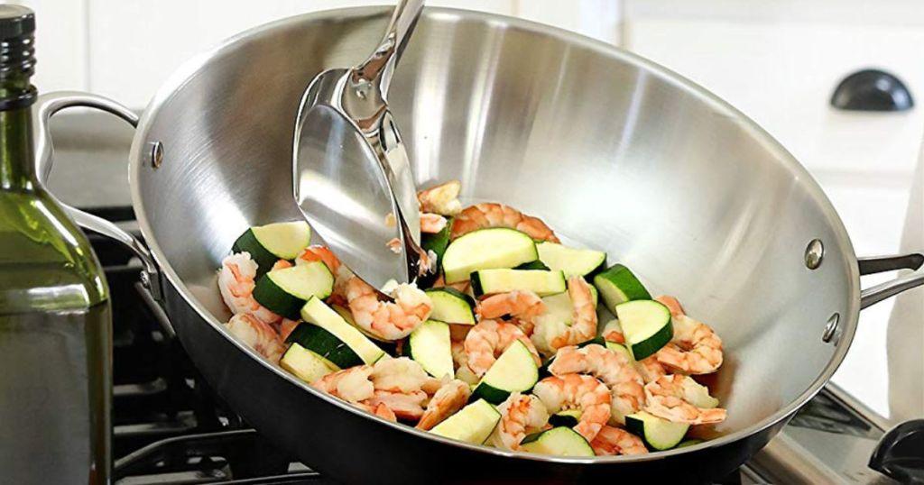 Wok Pan with Premium Lid and Bonus Bamboo Spatula shrimp and zucchini