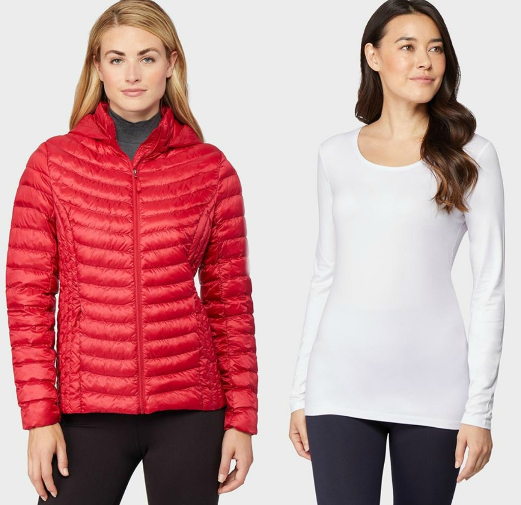 Woman wearing red down jacket and woman wearing white layering top