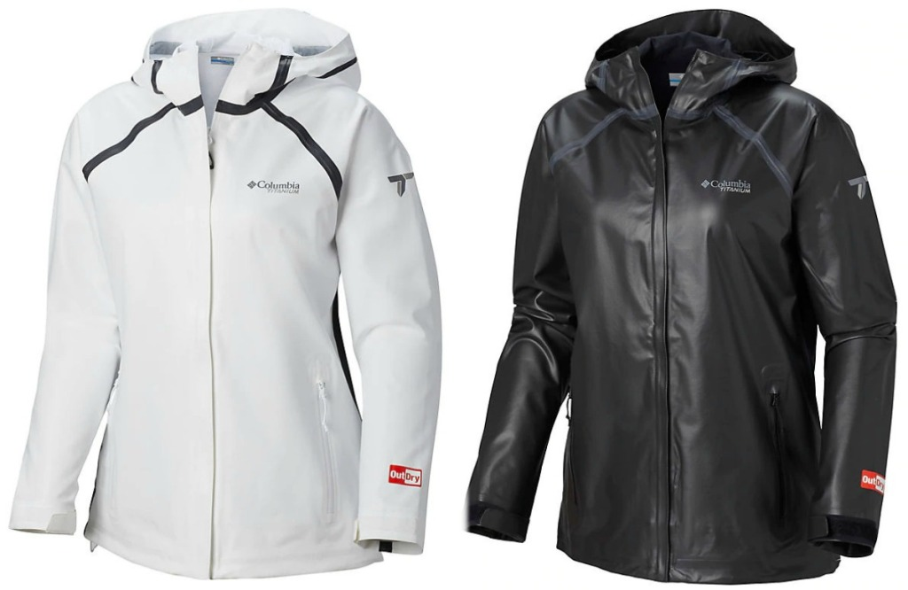Columbia brand women's jackets in white and black
