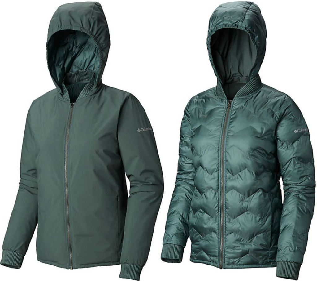 Women's Columbia reversible jacket in jade-green color with hood up