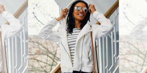 Women's Hooded Fleece Moto Jackets Only $14.99 at Zulily (Regularly $50)