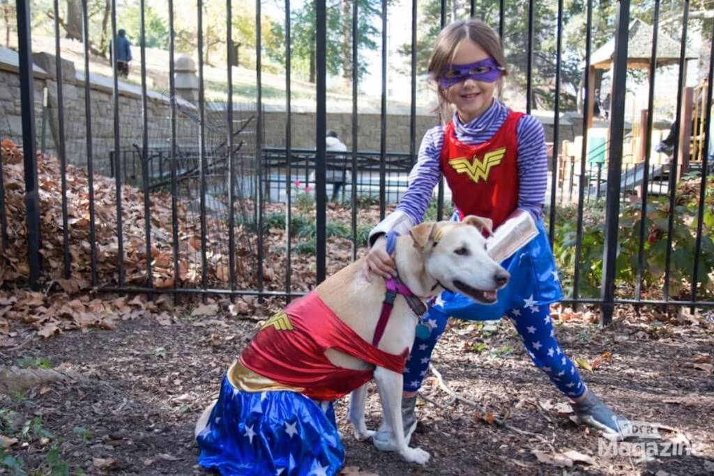 dog and girl wearing wonder woman costume outside