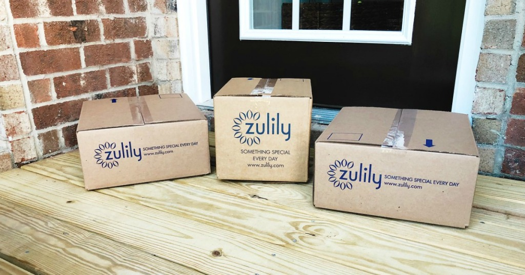 Zulily Boxes on porch