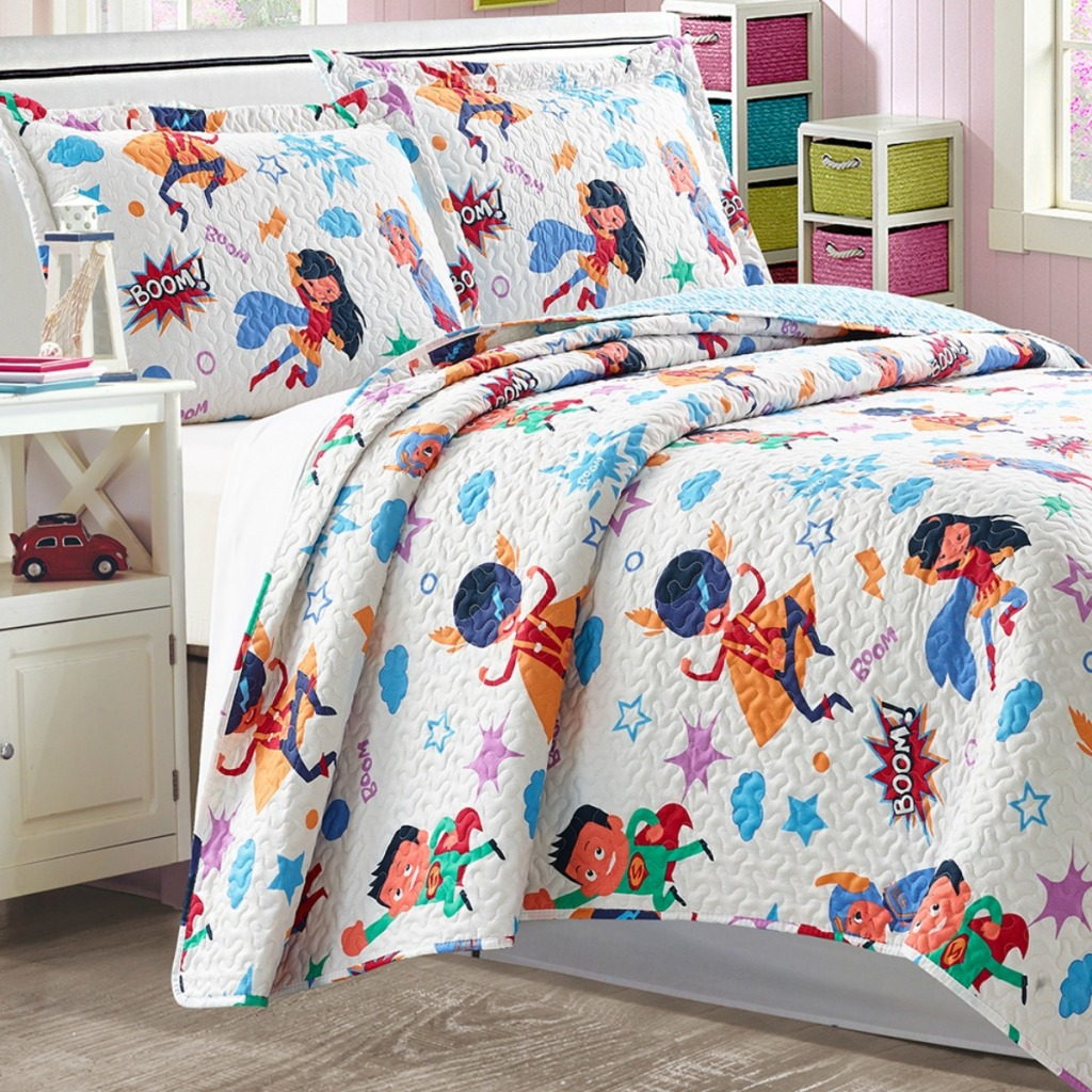 Super hero print quilt on twin size bed from Zulily