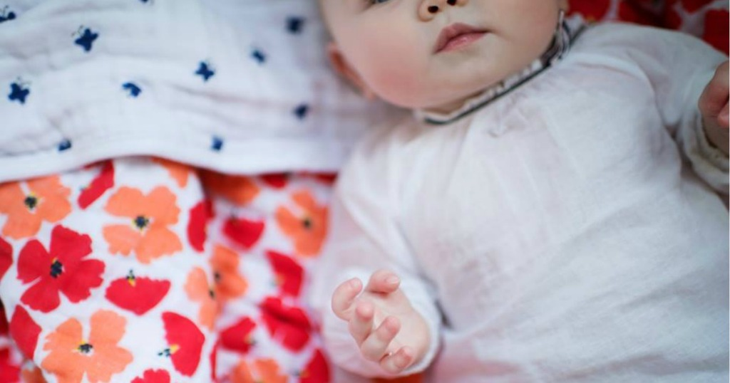 aden + anais White & Red Floral Dream Blanket