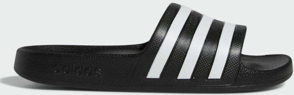 Women's slide sandals in black with white stripes from adidas