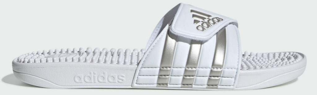 White and silver women's adidas slide sandal