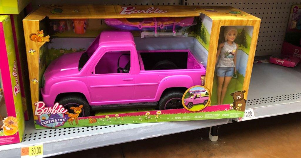in store picture at Walmart of barbie camping kayak sea adventure playset