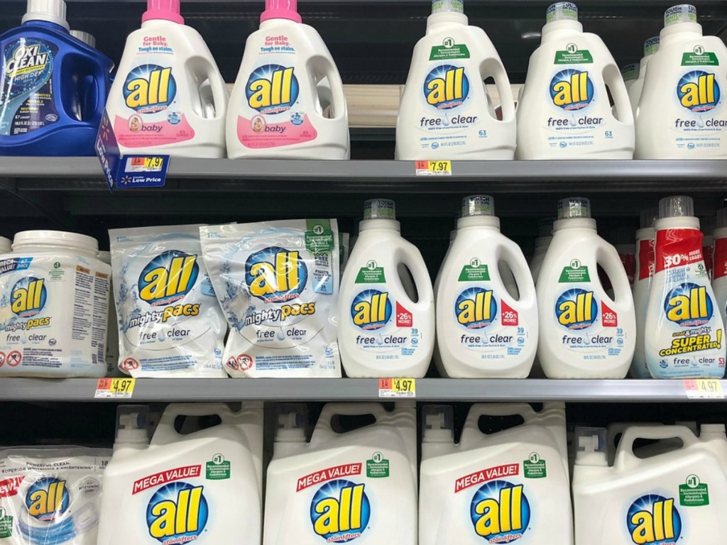 all laundry detergent on store shelves