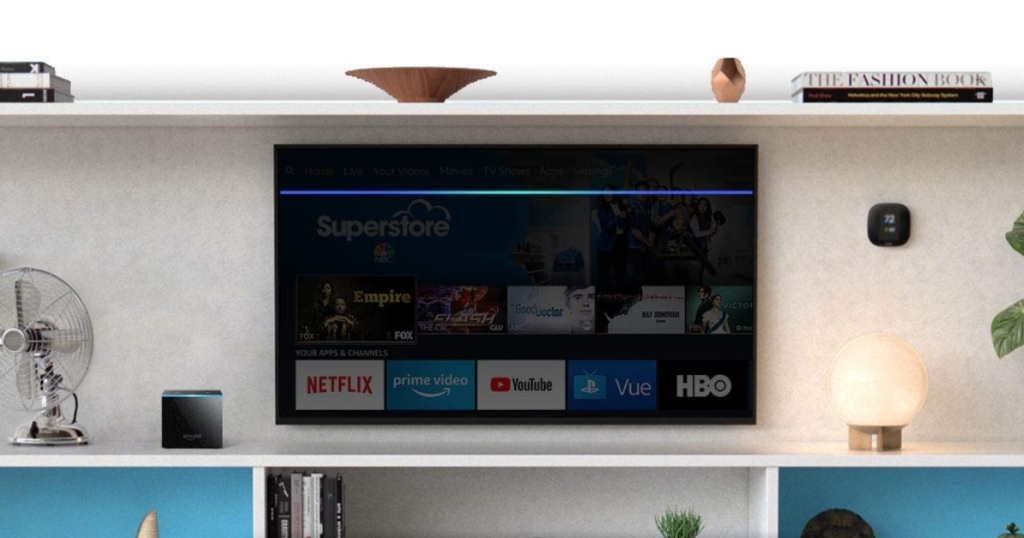 Amazon Fire TV Cube and TV