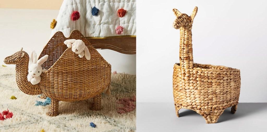 animal llama camel rattan woven decorative baskets