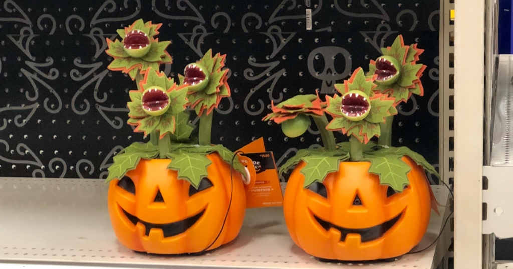 Animated pumpkin decor with singing plants