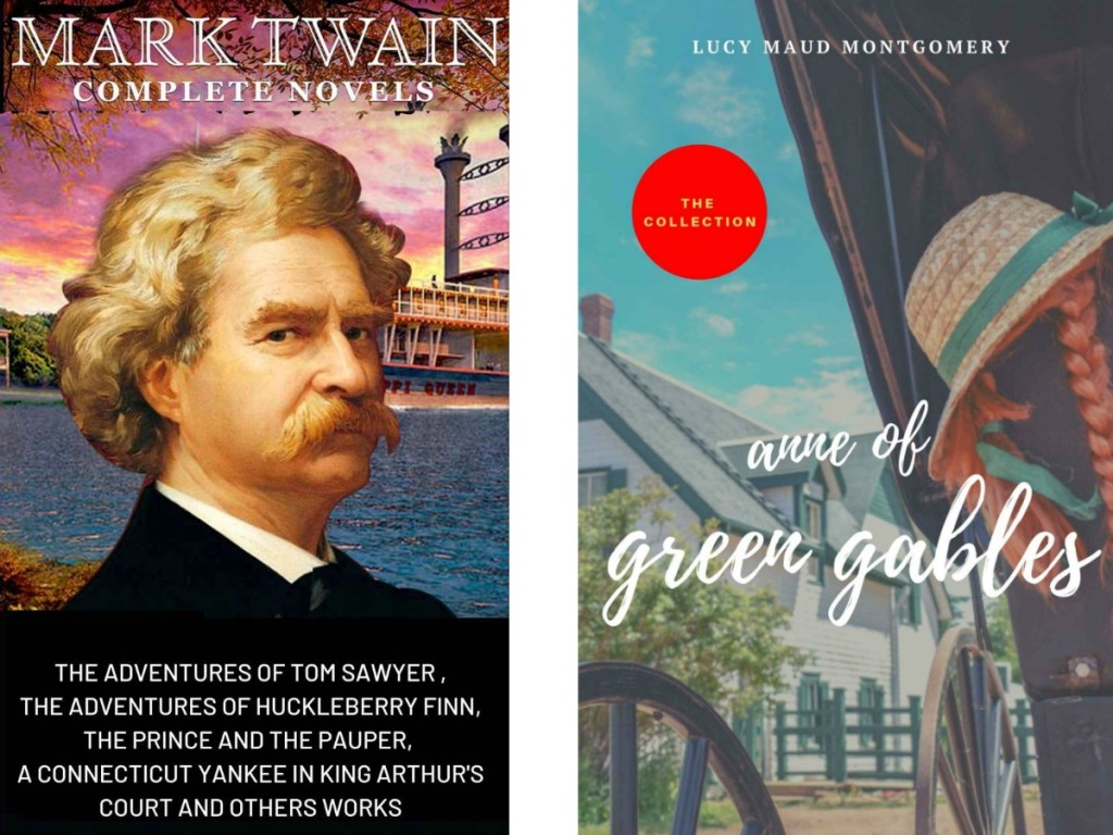 mark twain book cover and anne of green gables cover