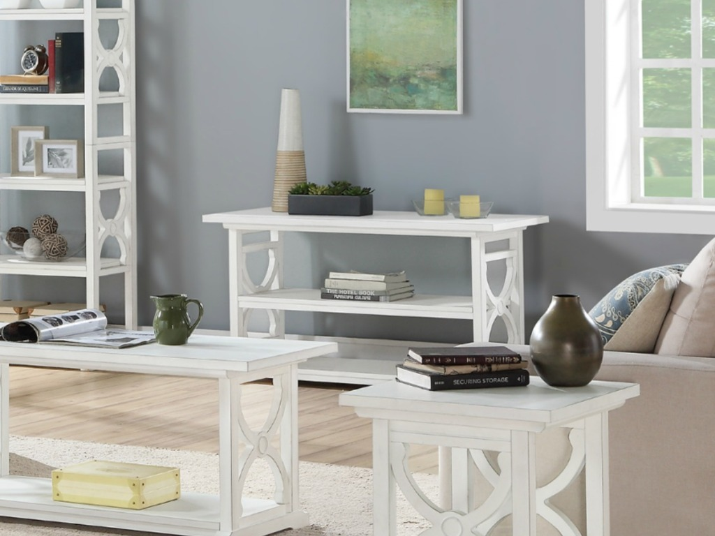 accent table with other white furniture