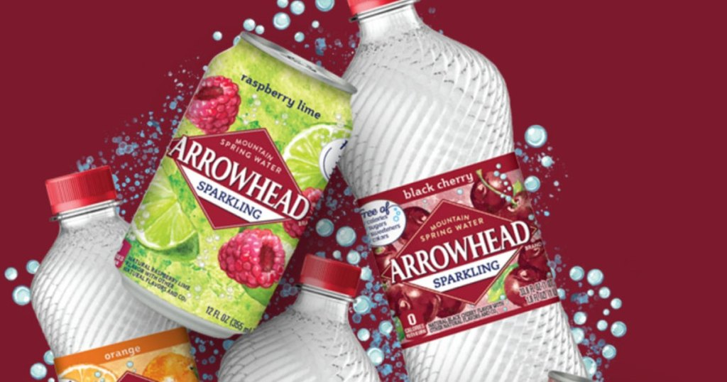 Arrowhead sparkling flavored water stock image