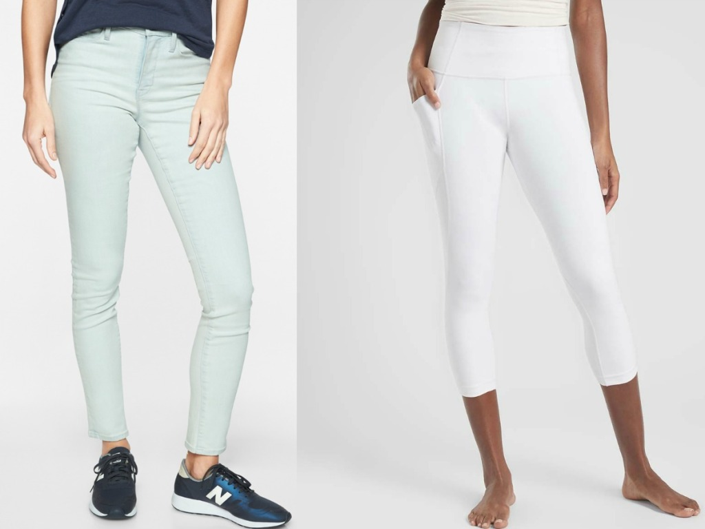 mint jeans and white leggings