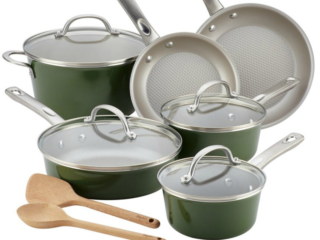 green set of pans to cook