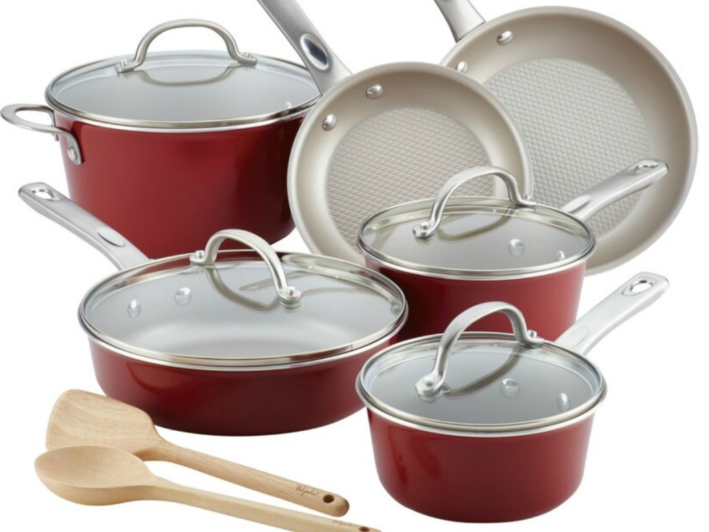set of red pots and pans