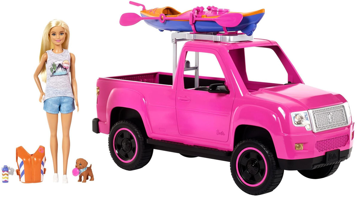 Barbie Camping Fun Doll, Pink Truck and Sea Kayak Adventure set stock image