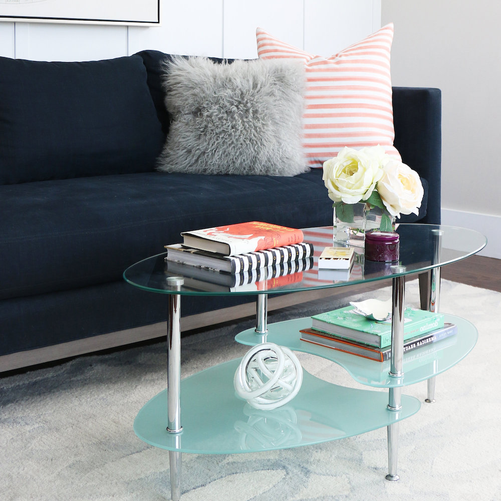 bartol Glass coffee table in living area