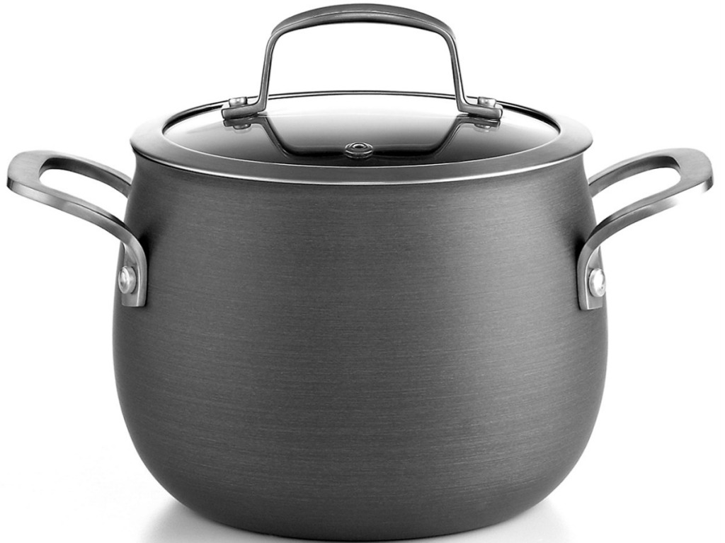 big round soup pot with lik on white background