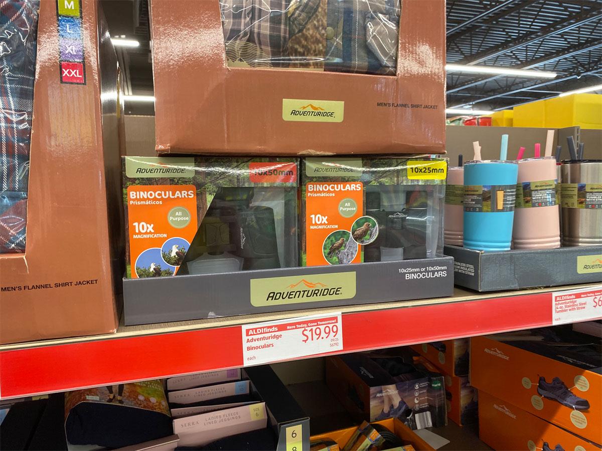 adventuridge binoculars on shelf at aldi