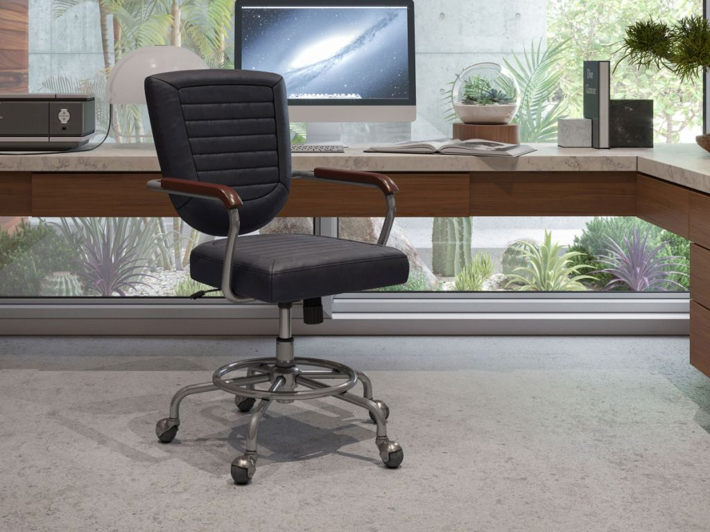 black leather chair in office