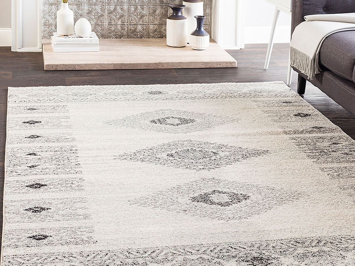 Zulily ivory and black rug