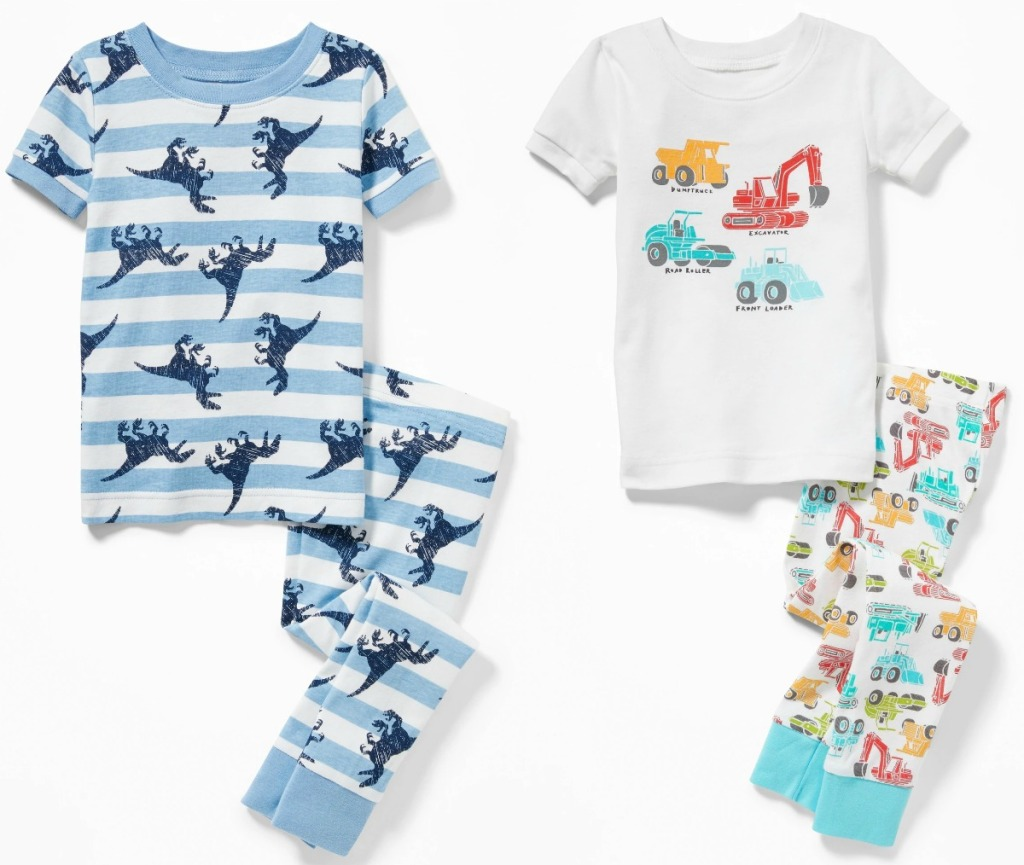 Two styles of baby boys pajamas from Old Navy