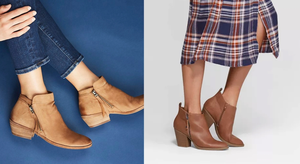 two pairs of brown camel colored leather ankle booties